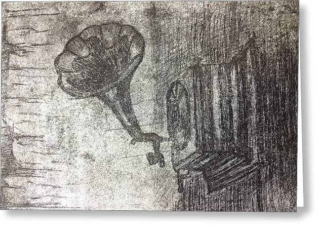Printed Reliefs Greeting Cards - Printmaking Phonograph Greeting Card by Paige Hatley