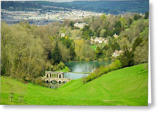Geobob Greeting Cards - Prior Park Fish Ponds and Palladium Covered Bridge Widcombe Bath Somerset England Greeting Card by Robert Ford