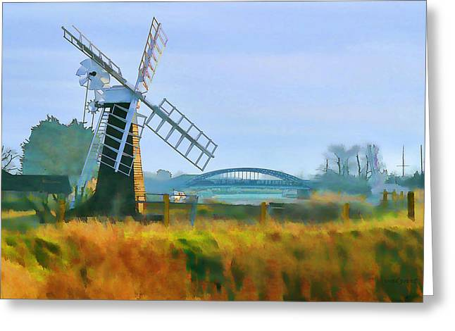 Kelly Mixed Media Greeting Cards - Priory Windmill Greeting Card by Valerie Anne Kelly