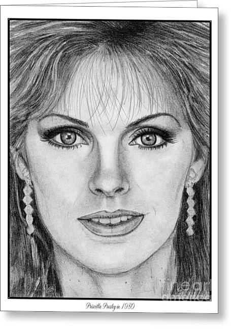Fame Drawings Greeting Cards - Priscilla Presley in 1980 Greeting Card by J McCombie