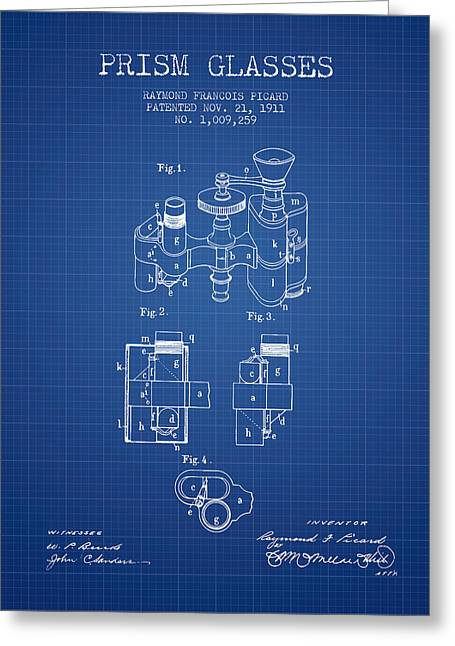 Glass Wall Greeting Cards - Prism Glasses patent from 1911 - Blueprint Greeting Card by Aged Pixel
