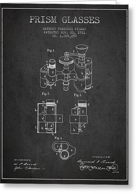Glass Wall Greeting Cards - Prism Glasses patent from 1911 - Dark Greeting Card by Aged Pixel