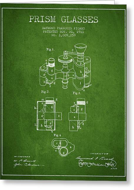 Glass Wall Greeting Cards - Prism Glasses patent from 1911 - Green Greeting Card by Aged Pixel