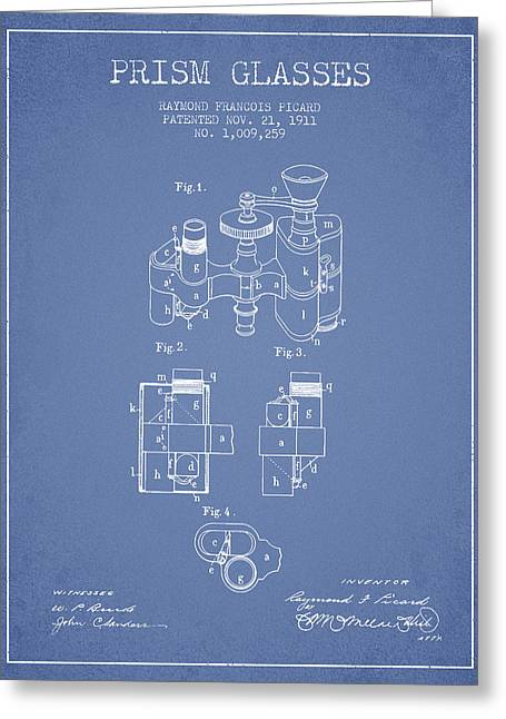 Glass Wall Greeting Cards - Prism Glasses patent from 1911 - Light Blue Greeting Card by Aged Pixel
