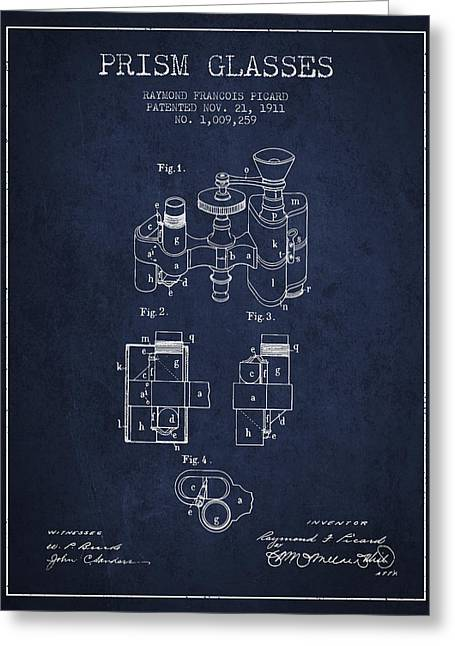 Prism Glasses Patent From 1911 - Navy Blue Greeting Card by Aged Pixel