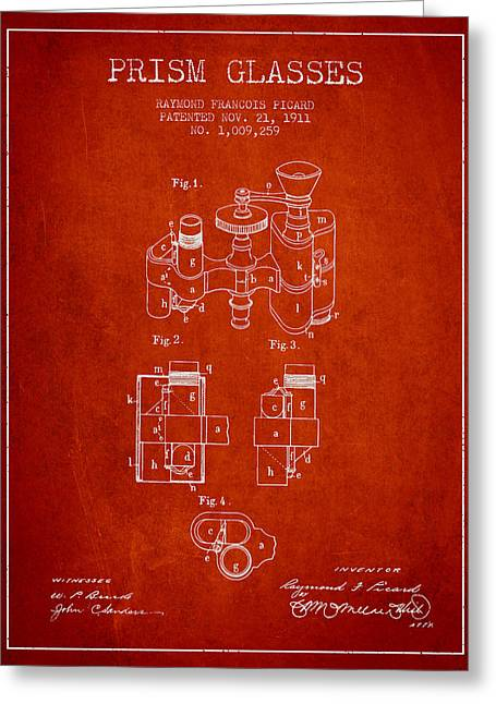 Prism Glasses Patent From 1911 - Red Greeting Card by Aged Pixel
