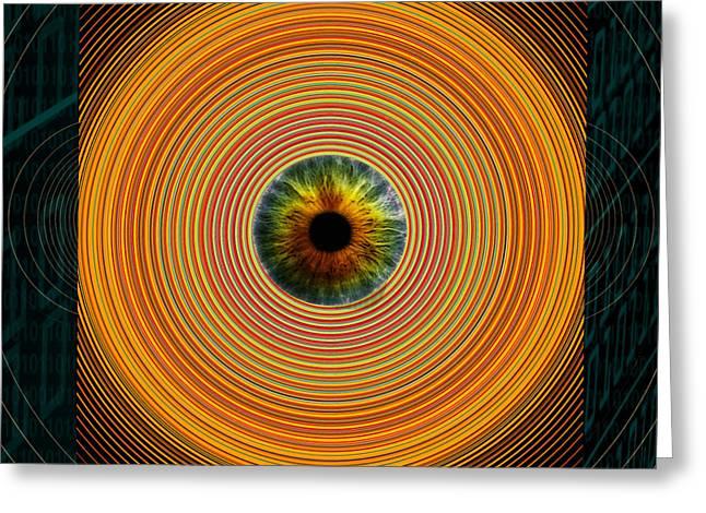 Gaia Mixed Media Greeting Cards - PRISM orange Greeting Card by Gaia Ragu