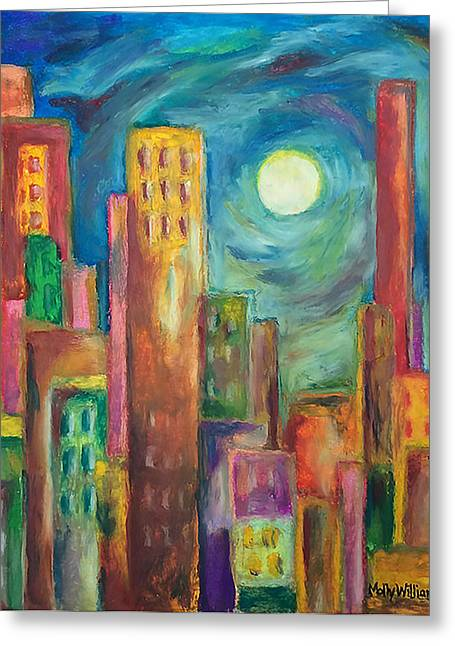 Downtown Pastels Greeting Cards - Prismatic Cityscape Greeting Card by Molly Williams