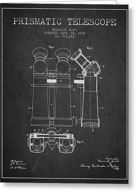 Telescopes Greeting Cards - Prismatic Telescope Patent from 1908 - Dark Greeting Card by Aged Pixel