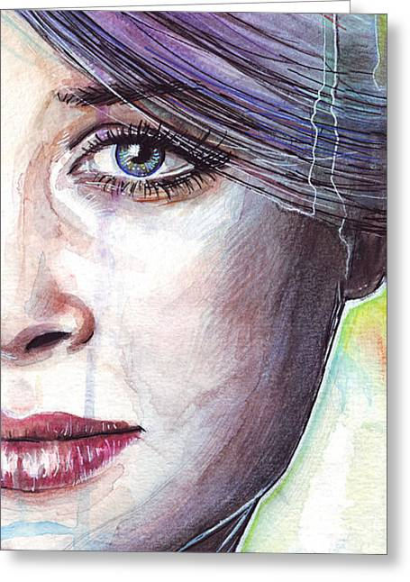 Beautiful Face Greeting Cards - Prismatic Visions Greeting Card by Olga Shvartsur