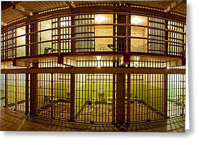 Alcatraz Greeting Cards - Prison Cells, Alcatraz Island, San Greeting Card by Panoramic Images