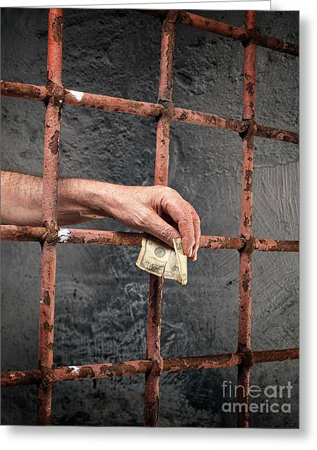 Payoff Greeting Cards - Prison corruption Greeting Card by Sinisa Botas