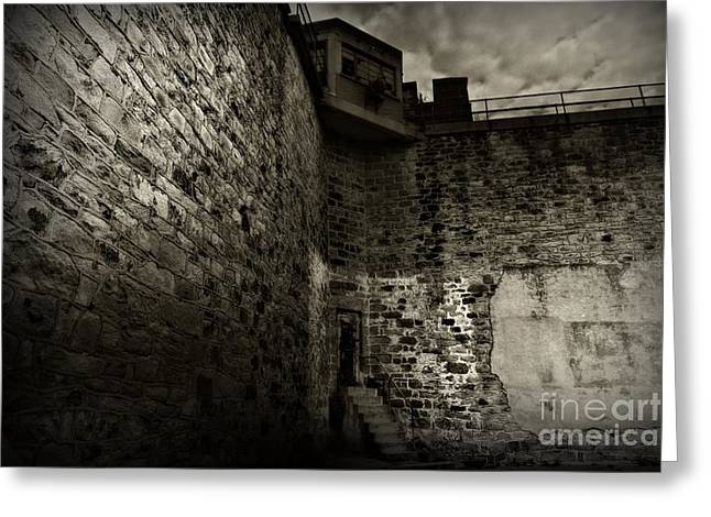 Guard Tower Greeting Cards - Prison Walls in Black and White Greeting Card by Paul Ward