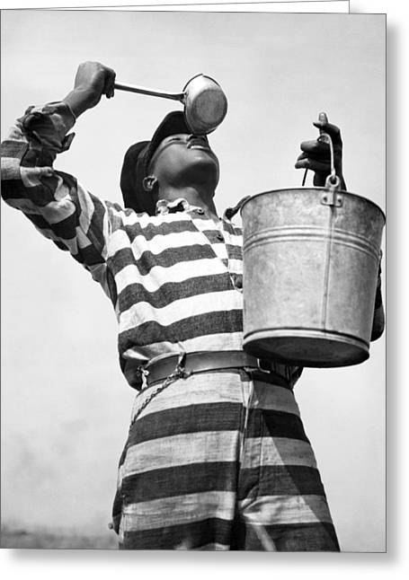 Chain Gang Greeting Cards - Prisoner Quenches His Thirst Greeting Card by Underwood Archives