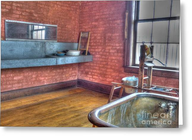 Prisoner's Bath and Laundry Greeting Card by MJ Olsen