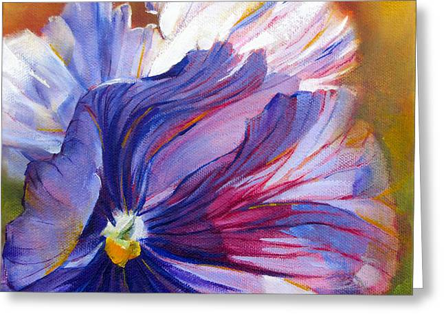Pat Cross Greeting Cards - Prissy Pansy Greeting Card by Pat Cross