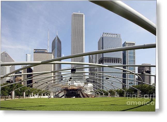 Outdoor Theater Greeting Cards - Pritzker Pavilion Amphitheater Millennium Park Chicago Greeting Card by Bill Cobb