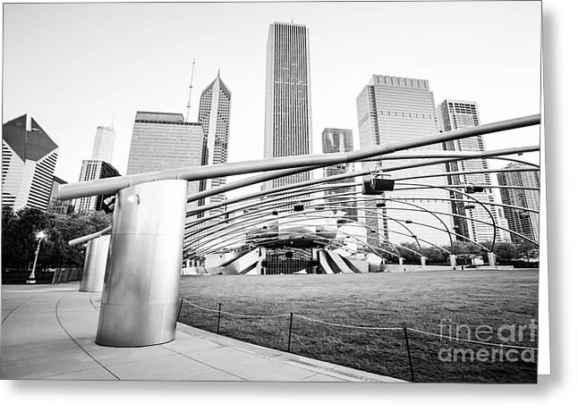 Blue Cross Greeting Cards - Pritzker Pavilion Chicago Black and White Picture Greeting Card by Paul Velgos