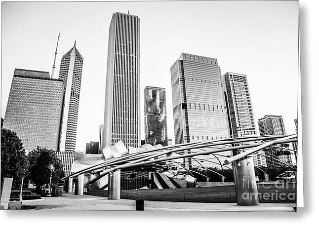 Editorial Greeting Cards - Pritzker Pavilion Chicago Skyline Black and White Photo Greeting Card by Paul Velgos
