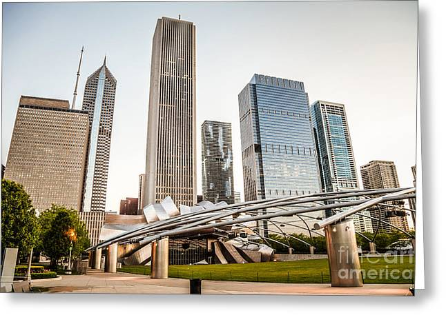 Editorial Greeting Cards - Pritzker Pavilion Chicago Skyline Photo Greeting Card by Paul Velgos