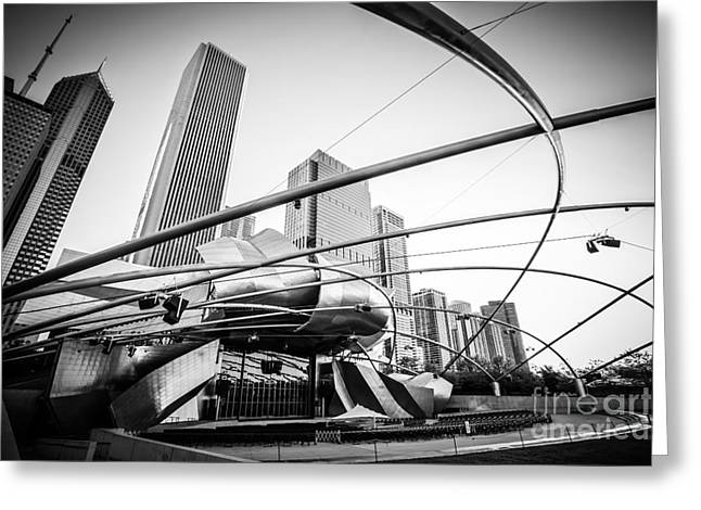 Editorial Greeting Cards - Pritzker Pavilion in Black and White Greeting Card by Paul Velgos
