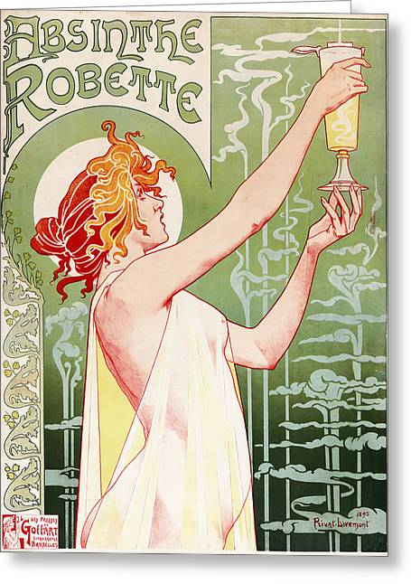 Absinthe Greeting Cards - Privat Livemont - Absinthe Robette Greeting Card by Nomad Art And  Design