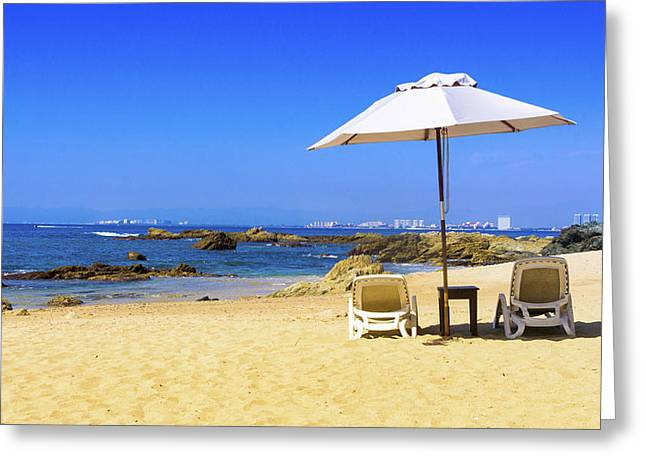 Beach Umbrellas Greeting Cards - Private beach Greeting Card by Aged Pixel
