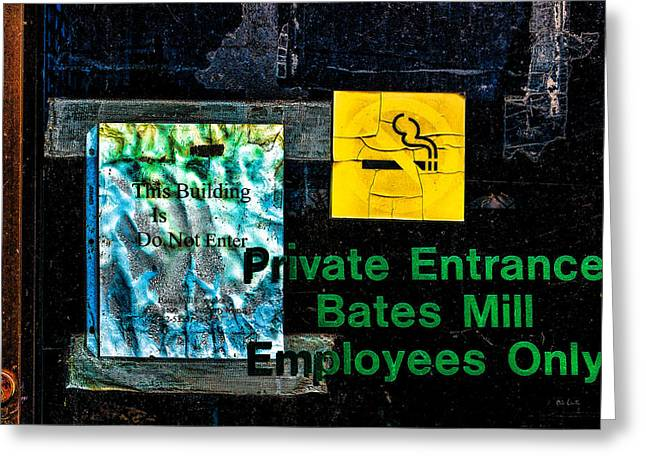 Industrial Greeting Cards - Private Entrance Greeting Card by Bob Orsillo