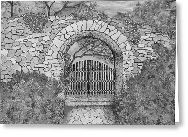 Antique Ironwork Drawings Greeting Cards - Private Garden at Sunset Black and White Greeting Card by S AshleyAnn Goforth