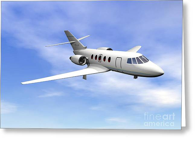 First-class Digital Art Greeting Cards - Private Jet Plane Flying In Cloudy Blue Greeting Card by Elena Duvernay