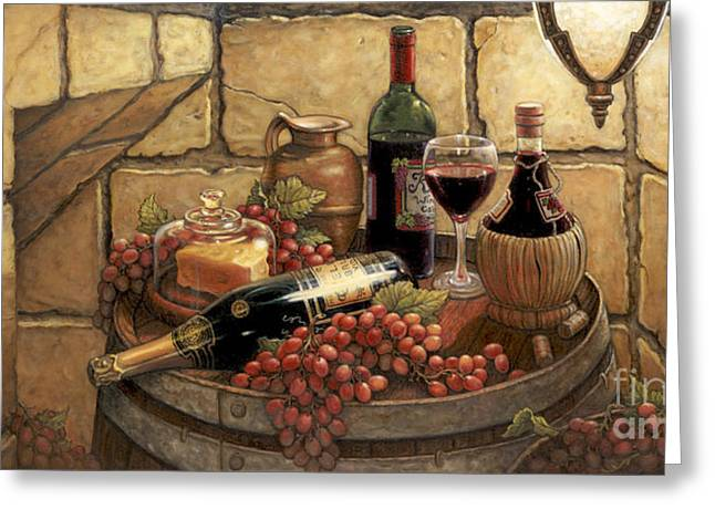 Wine Scene Greeting Cards - Private Reserve Greeting Card by Janet  Kruskamp