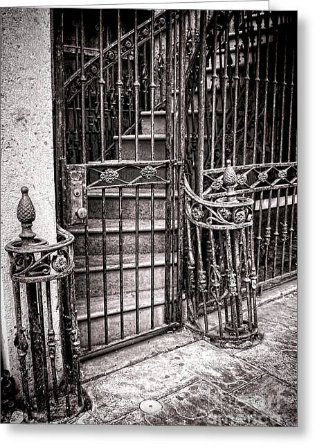 Wrought Iron Gate Greeting Cards - Private Stairway  Greeting Card by Olivier Le Queinec