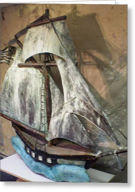 Tall Ship Sculptures Greeting Cards - Privateer Greeting Card by William Osmundsen