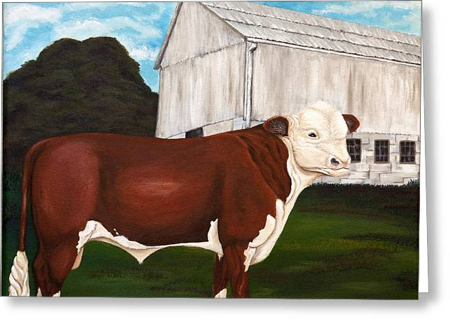 Prize Bull Greeting Card by Michelle Joseph-Long
