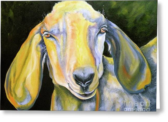 Goat Drawings Greeting Cards - Prize Nubian Goat Greeting Card by Susan A Becker