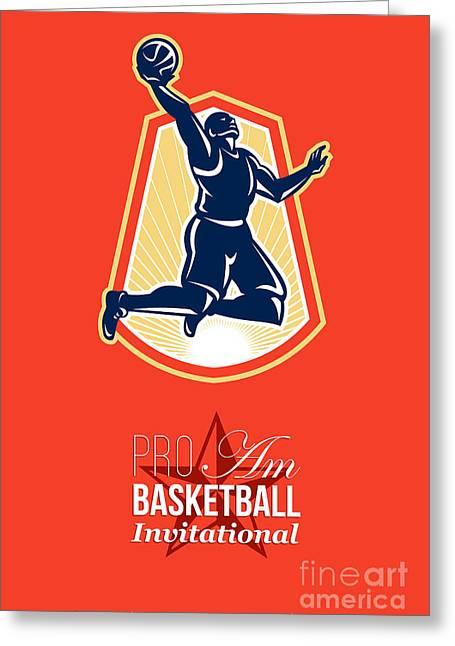 American Basketball Player Greeting Cards - Pro Am Basketball Invitational Retro Poster Greeting Card by Aloysius Patrimonio