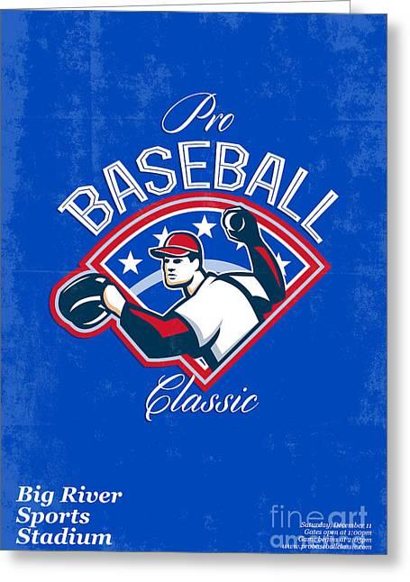 Tournament Digital Art Greeting Cards - Pro Baseball Classic Tournament Retro Poster Greeting Card by Aloysius Patrimonio