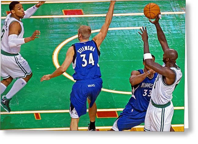 Kevin Garnett Greeting Cards - Pro Hoops 042 Greeting Card by Jeff Stallard