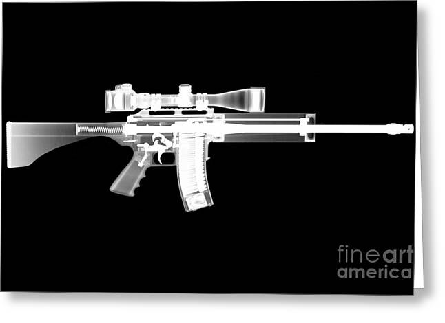 Guns Photographs Greeting Cards - Pro Ordnance Carbon AR15 Greeting Card by Ray Gunz