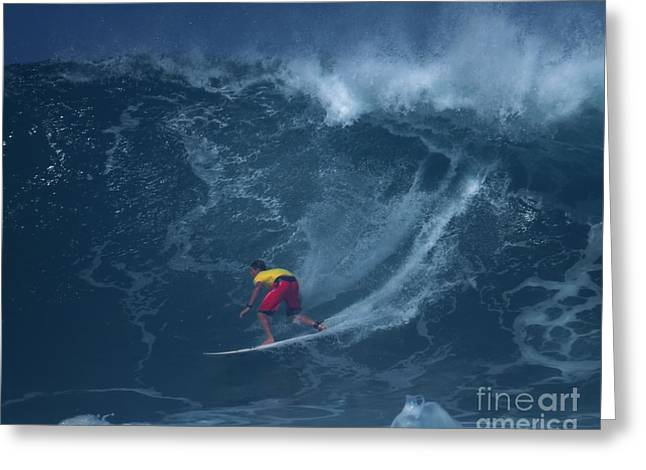 Surfing Photos Greeting Cards - Pro Surfer Ian Walsh Drops In Greeting Card by Scott Cameron
