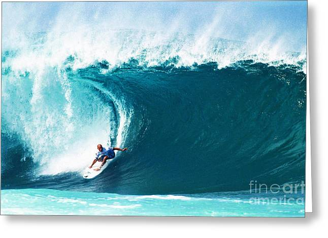 Best Sellers -  - Surfer Art Greeting Cards - Pro Surfer Kelly Slater Surfing in the Pipeline Masters Contest Greeting Card by Paul Topp