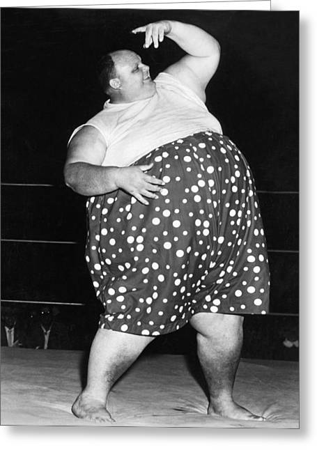 Pro Wrestler Happy Humphrey Greeting Card by Underwood Archives