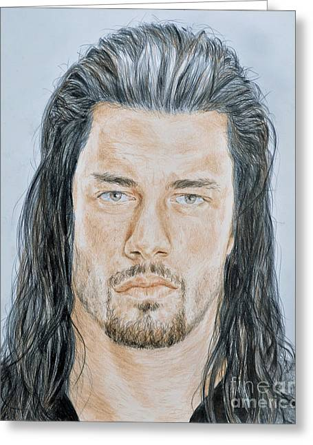 Jacksonville Mixed Media Greeting Cards - Pro Wrestling Superstar Roman Reigns  Greeting Card by Jim Fitzpatrick