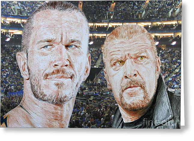 Vince Greeting Cards - Pro Wrestling Superstars Randy Orton and Triple H Greeting Card by Jim Fitzpatrick