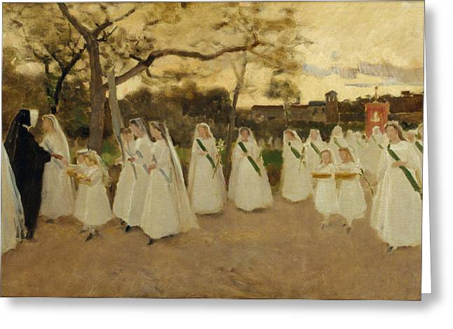 Schoolgirl Paintings Greeting Cards - Procession of Schoolgirls Greeting Card by Joaquim Vayreda i Vila