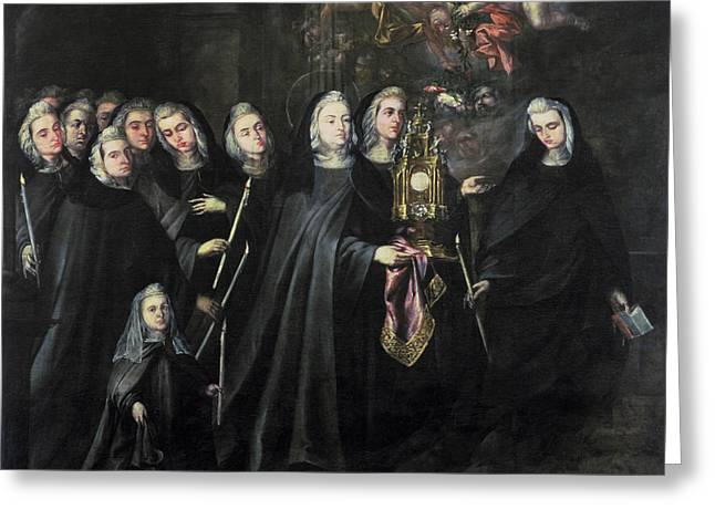 Clara Greeting Cards - Procession Of St. Clare With The Eucharist Greeting Card by Juan de Valdes Leal