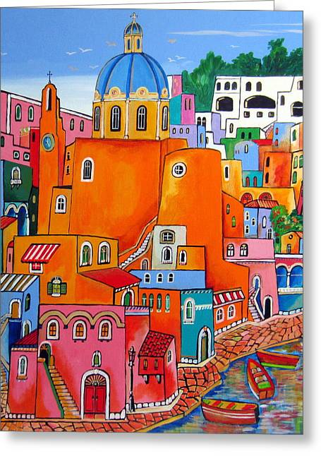 Village By The Sea Greeting Cards - Procida houses Greeting Card by Roberto Gagliardi