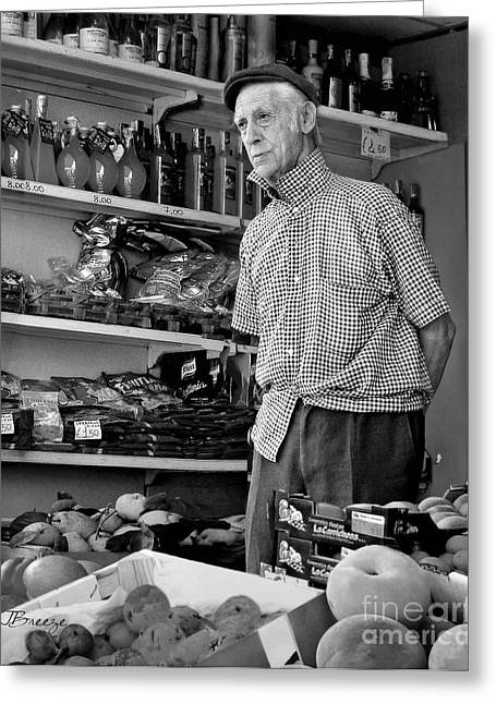 Southern Province Greeting Cards - Procida Market Man-Italy Greeting Card by Jennie Breeze