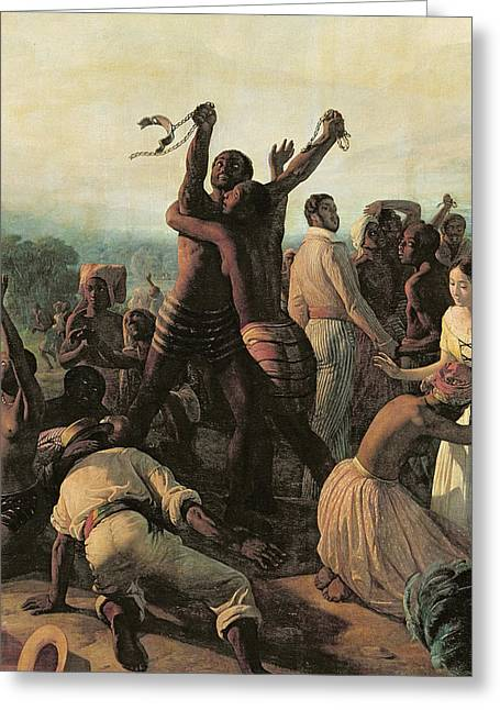 Proclamation Of The Abolition Of Slavery In The French Colonies, 23rd April 1848 Greeting Card by Francois Auguste Biard