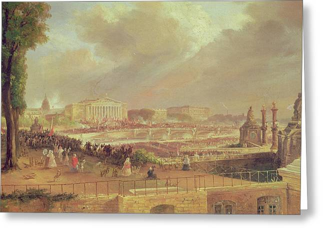 Concorde Greeting Cards - Proclamation Of The Second French Republic, Place De La Concorde, February 24, 1848 Oil On Canvas Greeting Card by Jean-Jacques Champin